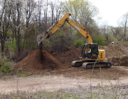 This Is A Photo Of An Excavator Working In Dirt Next To A Building, Excavation Plus, Western Ma, Excavation Process