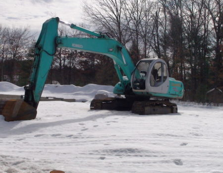 This Is A Photo Of An Excavator Working In Snowy Conditions, Excavation Plus, Monson Ma, Western Ma