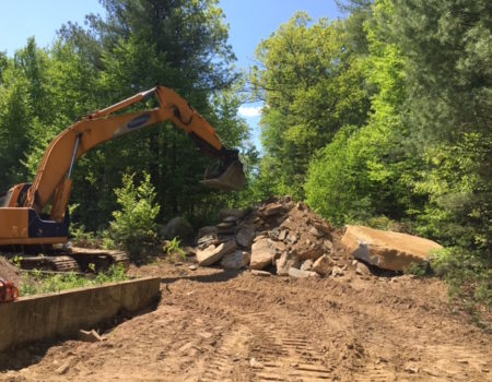 This Is A Photo Of An Excavator Working To Move Some Rocks And Debris, Excavation Plus, Western Ma, Monson Ma