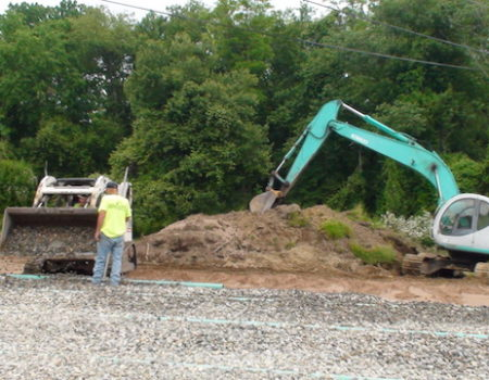 This Is A Photo Of An Excavator And A Frontloader Working On A Job Site, Excavation Plus, Western Ma