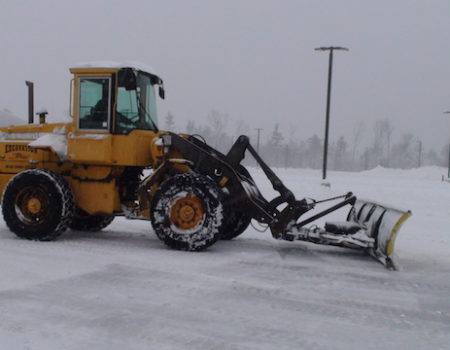 This Is A Photo Of An Excavator Working To Remove Snow From A Parking Lot, Excavation Plus, Western Ma