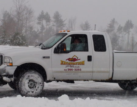 This Is A Photo Of An Excavation Plus Pickup Truck Working To Remove Snow From A Parking Lot, Excavation Plus, Western Ma
