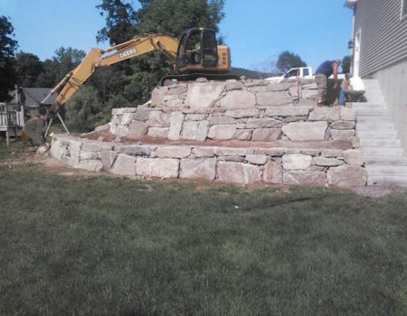 This Is A Photo Of An Excavator Working On A Three Tiered Wall, Excavation Plus, Monson Ma, Western Ma